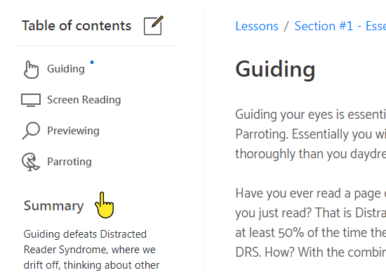 Screenshot of a learning course